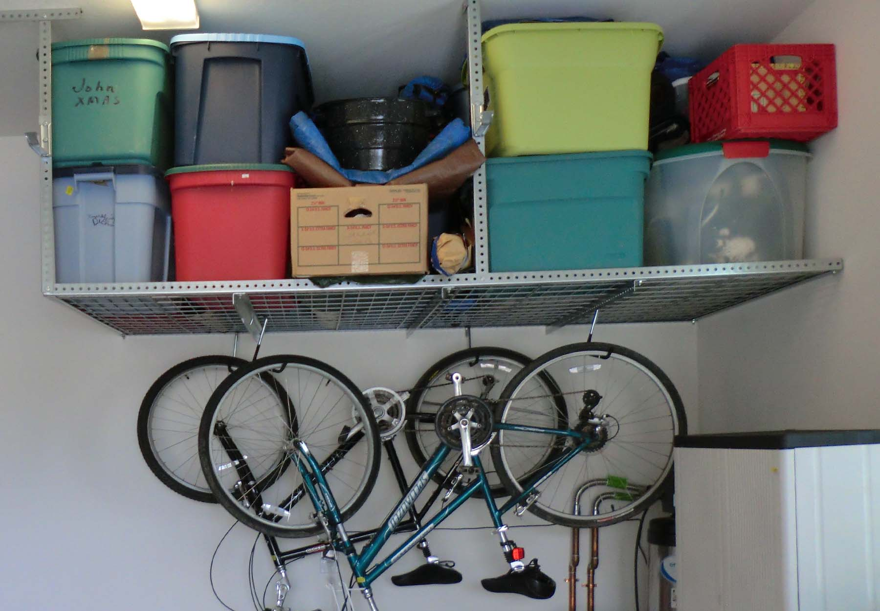 Ceiling Storage Racks with Accessory Hooks for Bikes